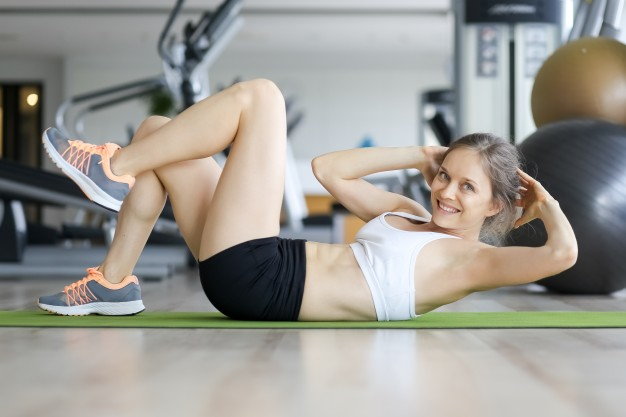 Happy Young Woman Doing Crunches Mat Gym 1262 3562
